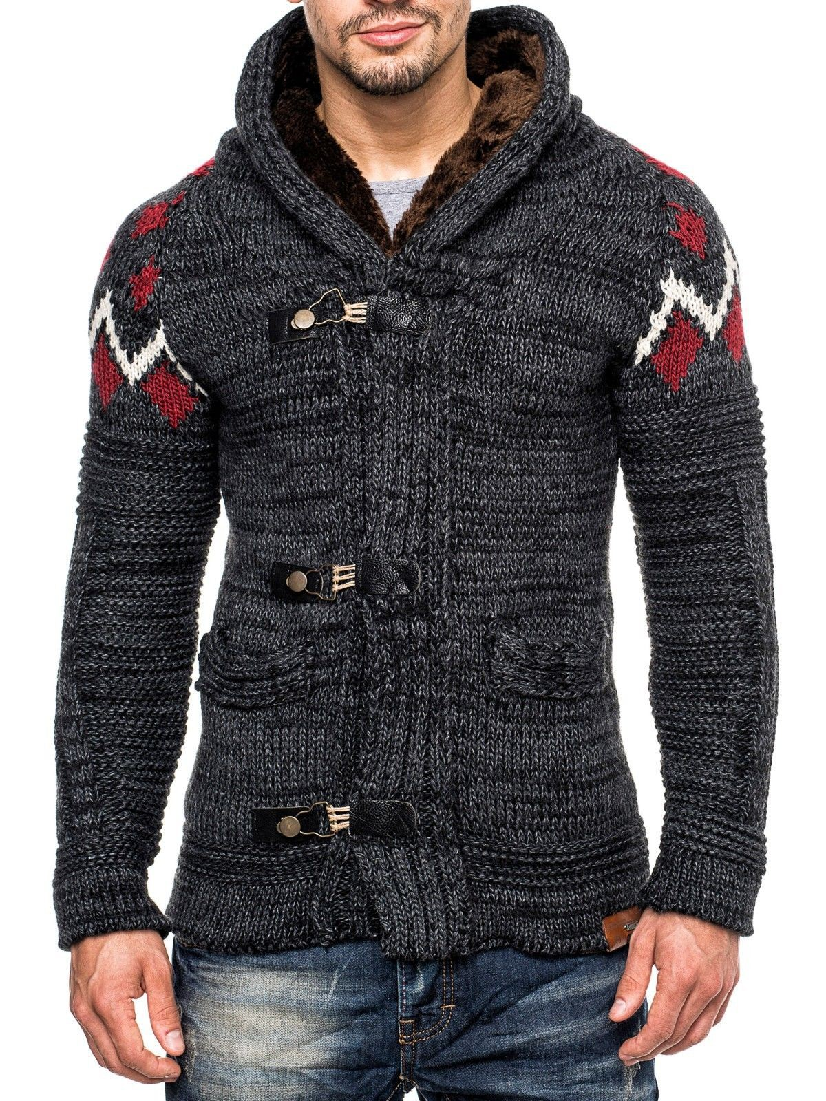 tazzio herren pullover strickjacke norweger tz 421 winter grobstrick jacke pulli ebay. Black Bedroom Furniture Sets. Home Design Ideas