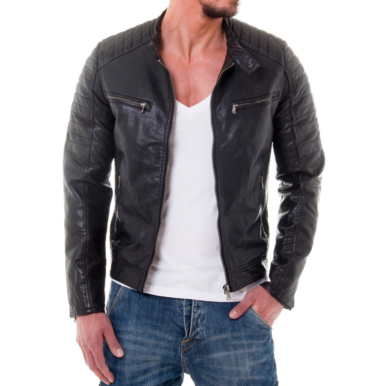 bonai 005 herren biker jacke gesteppt pu kunst lederjacke schwarz club party ebay. Black Bedroom Furniture Sets. Home Design Ideas