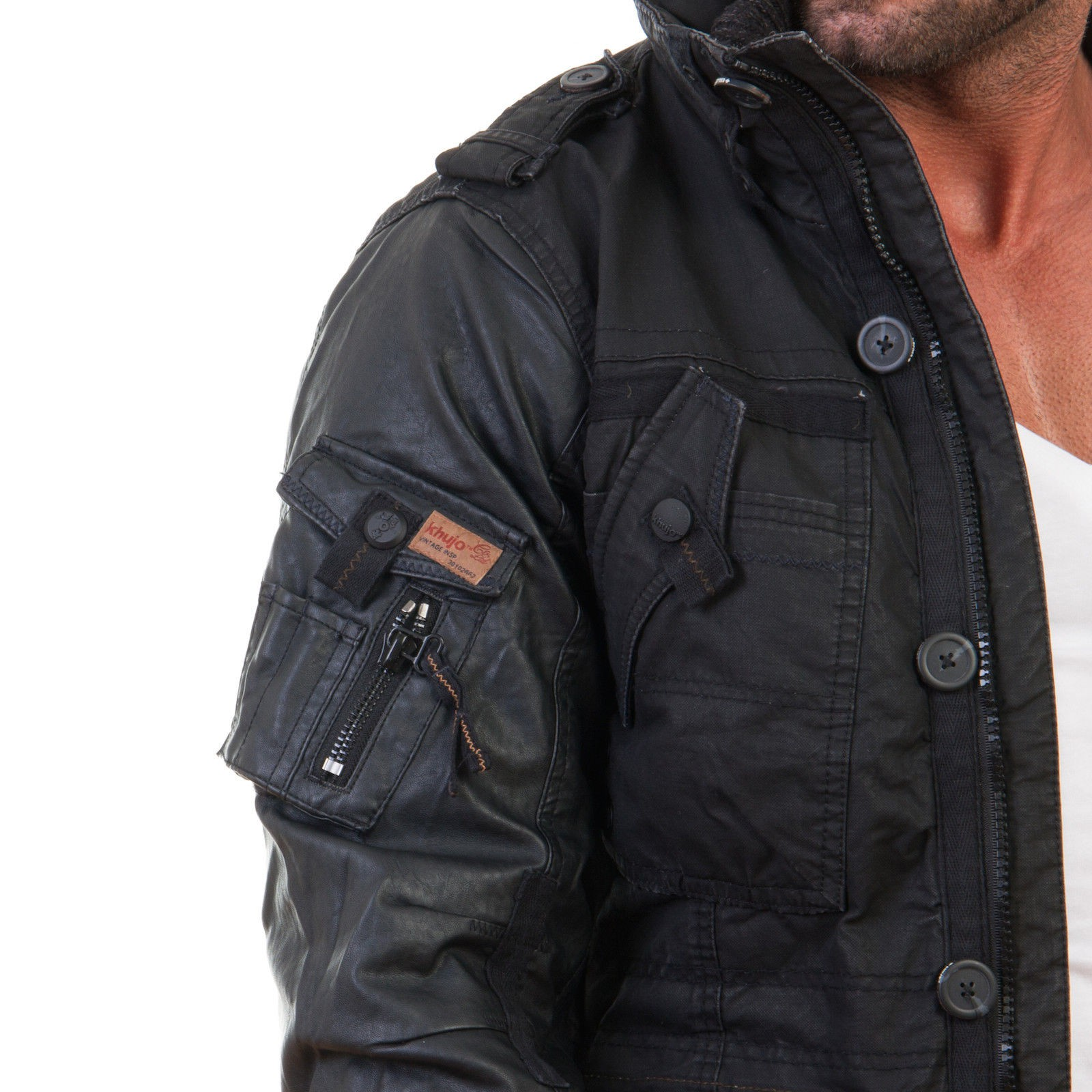 khujo men 39 s winter jacket pu faux leather jacket tomboy coat parker black s 2xl ebay. Black Bedroom Furniture Sets. Home Design Ideas