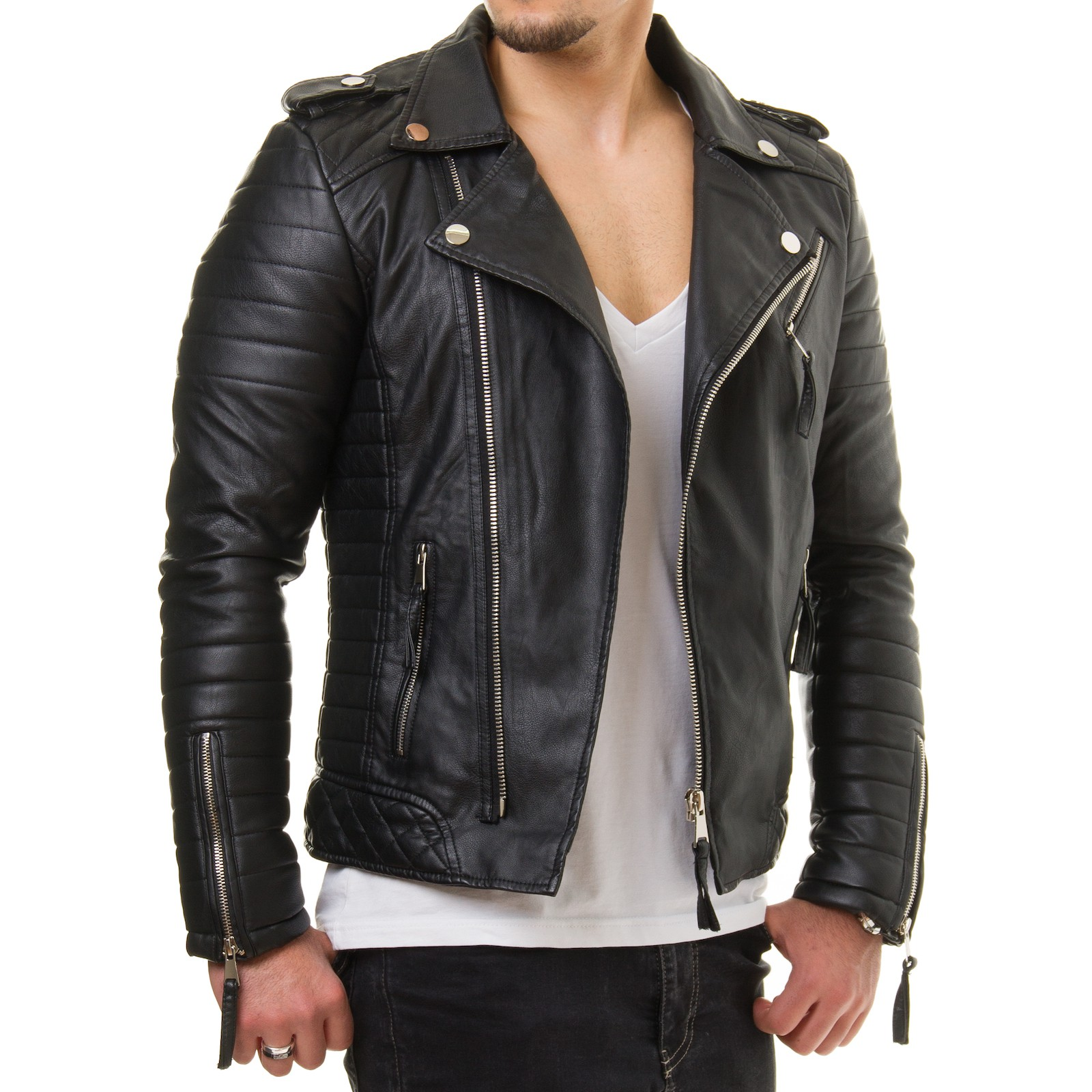 prestige homme mr18 herren kunst lederjacke biker jacke. Black Bedroom Furniture Sets. Home Design Ideas