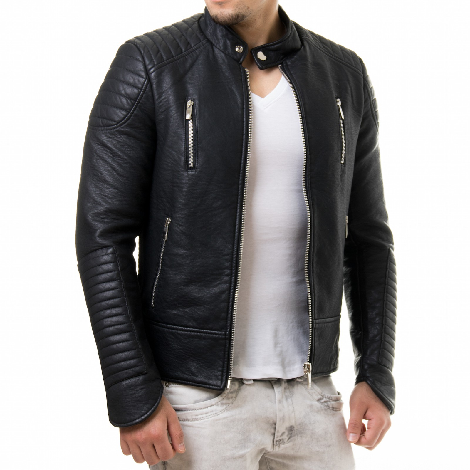 prestige homme 19 biker jacke gesteppt slim fit pu kunst. Black Bedroom Furniture Sets. Home Design Ideas