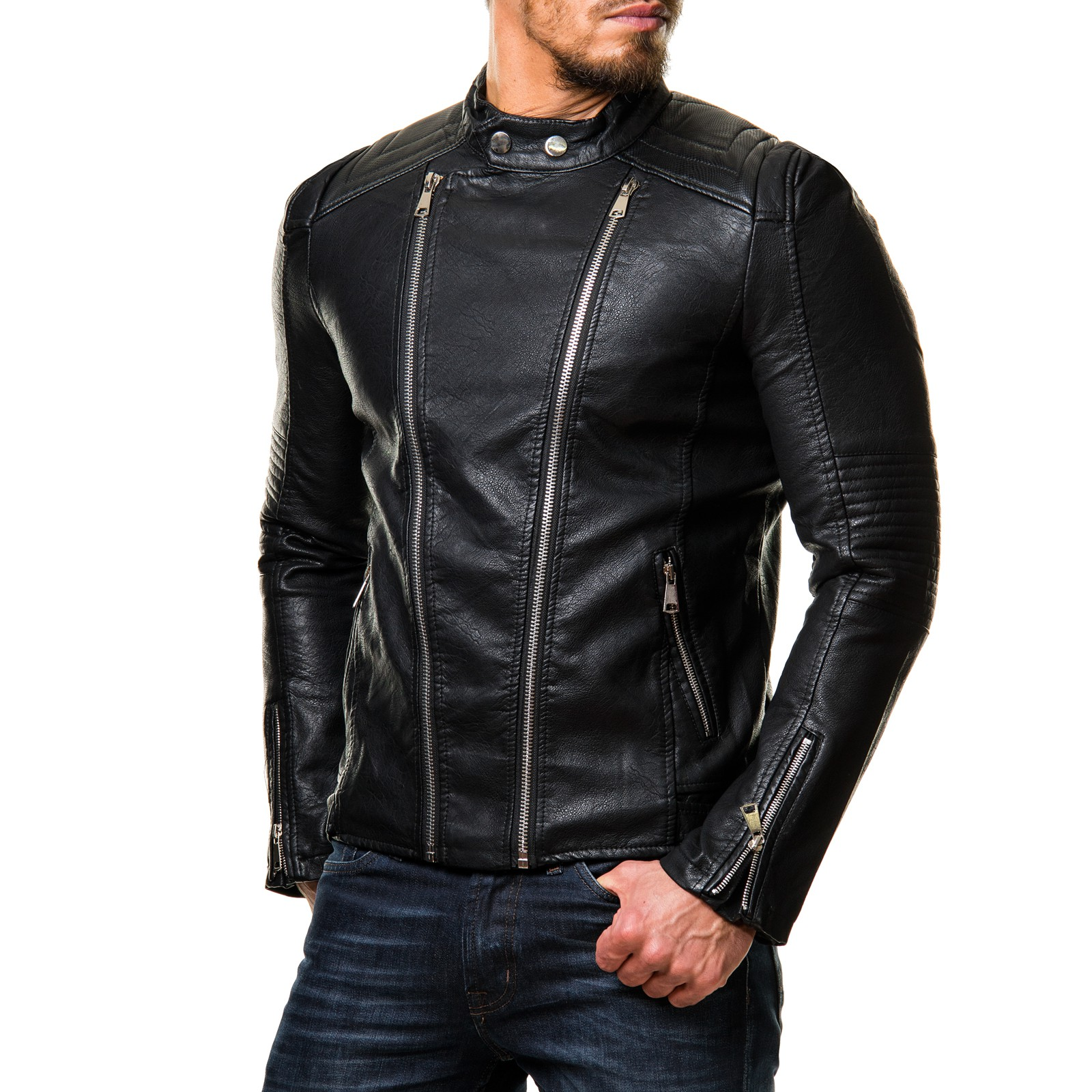 prestige homme 20 biker jacke gesteppt body slimfit zipper. Black Bedroom Furniture Sets. Home Design Ideas