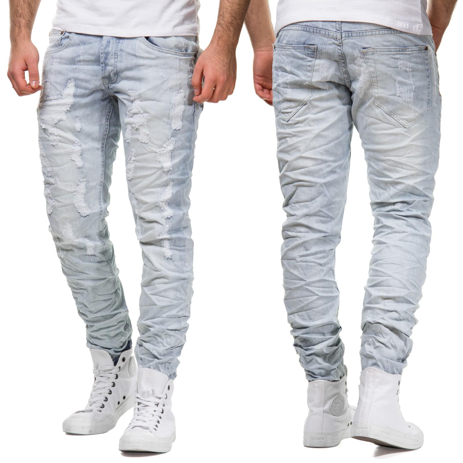one public 6100 herren jeans ripped hose denim slim fit blau destroyed zerrissen. Black Bedroom Furniture Sets. Home Design Ideas