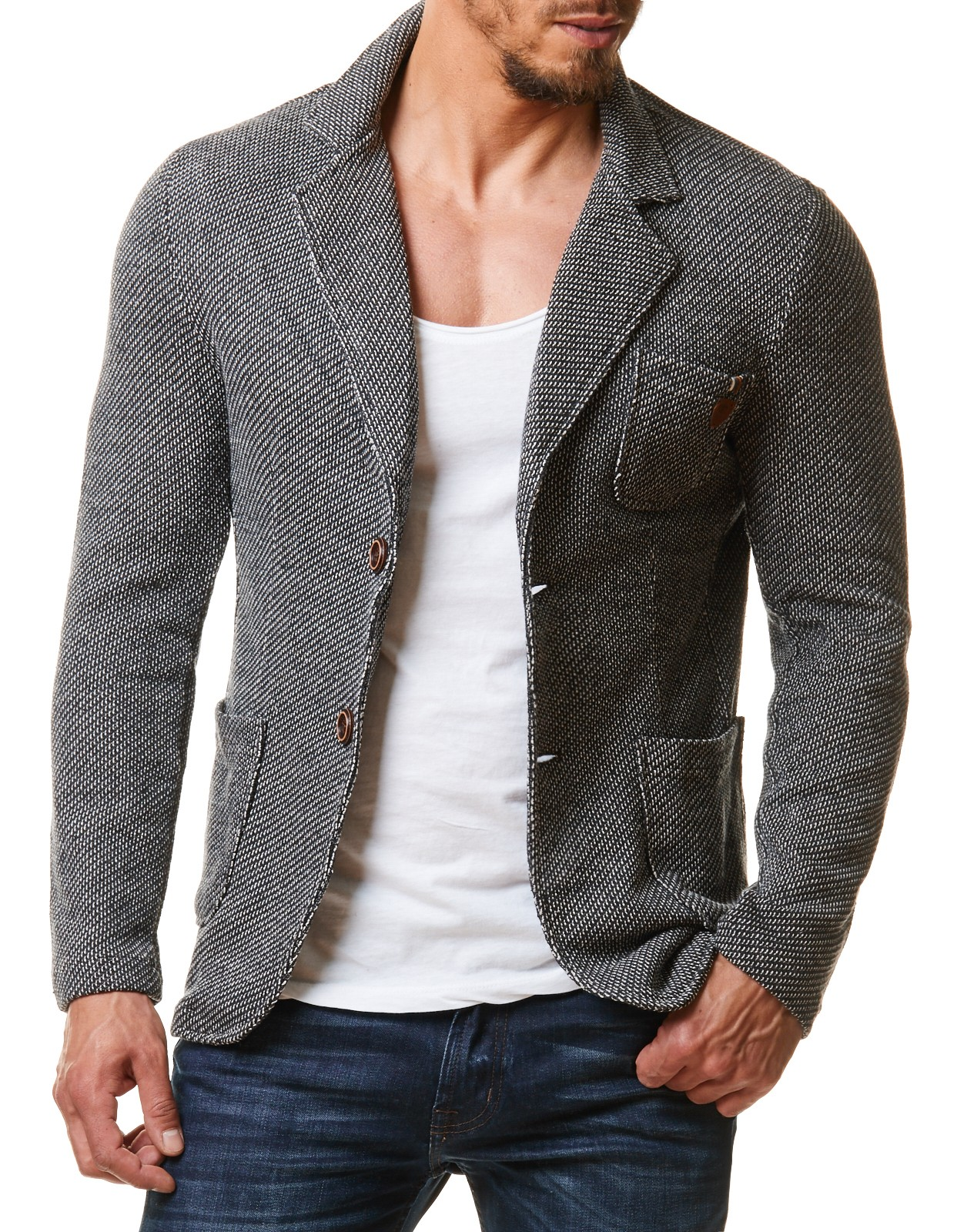 herren sakko ef1685 slim fit business strick jacke blazer. Black Bedroom Furniture Sets. Home Design Ideas